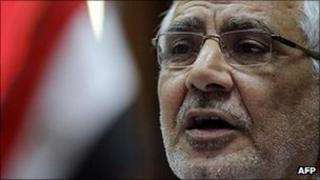 Abdel Moneim Aboul Fotouh with Egyptian flag in background