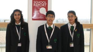 Rhea, Hema and Keval, pupils at Park High School, Stanmore