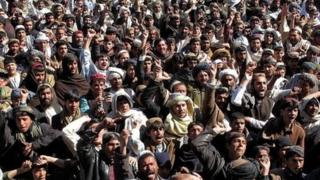 Crowd of protesting Afghan citizens