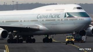 A Cathay Pacific aircraft pictured at Frankfurt airport last month