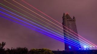 Laser show at Scrabo