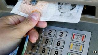 Taking cash from a cash machine