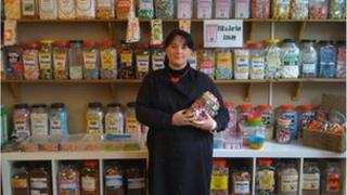 Leanne Knight at her sweet shop in Rushden