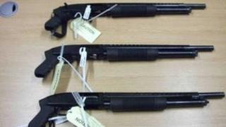 The shotguns seized from the oil tanker