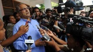 President Jose Ramos Horta speaks to reporters after voting in Dili