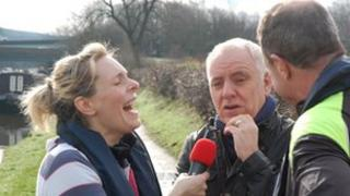 Katherine Hannah and Adam Pope with comedian Dave Spike
