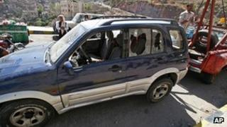 Scene of the shooting in Taiz, Yemen, 18 March