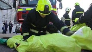 Emergency services taking part in the training