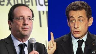 Francois Hollande (L) and Nicolas Sarkozy