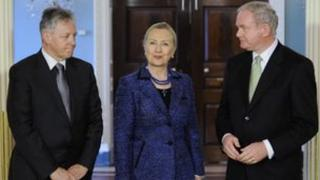 US Secretary Hillary Clinton with Peter Robinson and Martin McGuinness