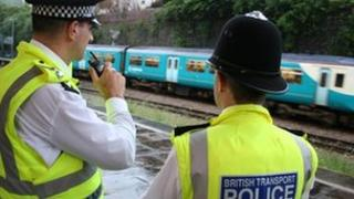 British Transport Police officers on patrol in the south Wales Valleys (generic)