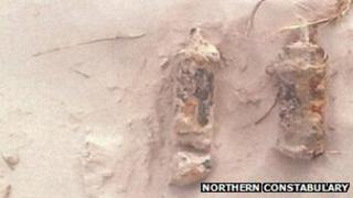 Explosives found at Nairn's East Beach. Pic: Northern Constabulary