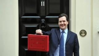 Chancellor of the Exchequer George Osborne holding the Budget box