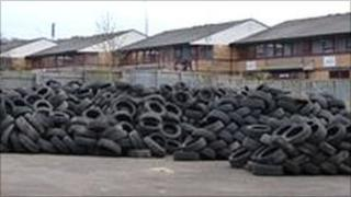 Some of the 5,300 tyres in Newport