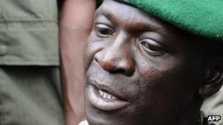 Mali junta leader Captain Amadou Sanogo speaks at the Kati Military camp, in a suburb of Bamako, on 22 March 2012