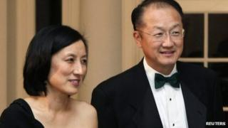Kim and his wife arriving at a state dinner in Washington