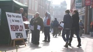 Remploy workers and supporters in Wrexham on Saturday
