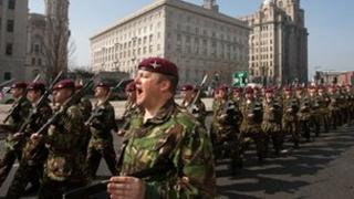 Parachute regiment soldiers in Liverpool