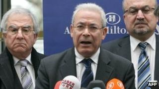 Syrian National Council (SNC) leader Burhan Ghalioun speaks to the media in Ankara (13 March 2012)
