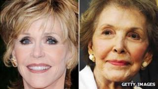 Jane Fonda (left) and Nancy Reagan