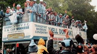Coventry City Football Club members on bus in 1987