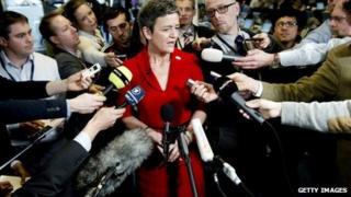 Denmark's Economy Minister Margrethe Vestager talks to press
