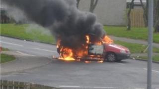 Vehicle on fire in Craigavon
