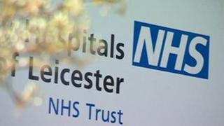 NHS sign for Leicester hospital