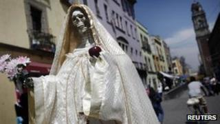 """A statue of """"Saint Death"""" is seen in Mexico City March 7, 2012."""