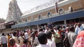 Pilgrims flock outside the Venkateswara Temple in Tirumala, Andhra Pradesh state