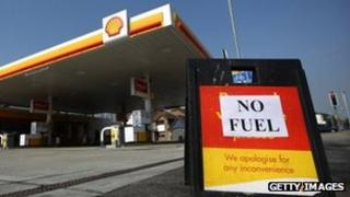 A sign outside a petrol station on 30 March