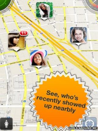 Screenshot of girls on Girls Around Me app