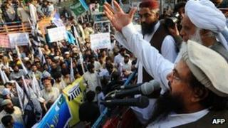 Hafiz Saeed at a rally in Lahore, Pakistan, on 9 March 2012
