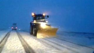 Snow plough on North Yorkshire Moors