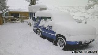 Car covered in snow, courtesy Alison Stubbs