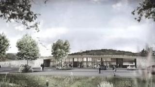 An artist's impression of the proposed Gloucestershire Gateway Services on the M5