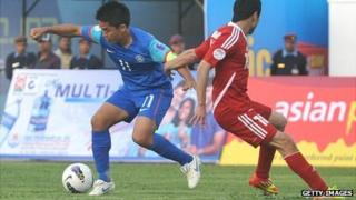 Indian attacker Sunil Chhetri (left) in action against Tajikistan in March 2012