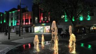 The water feature in Northampton's Market Square
