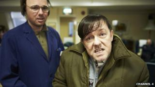 Ricky Gervais and Karl Pilkington in Derek