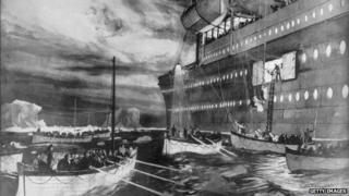 The Carpathia rescuing Titanic passengers