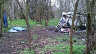 Migrants have set up camp on Barnes Meadow roundabout