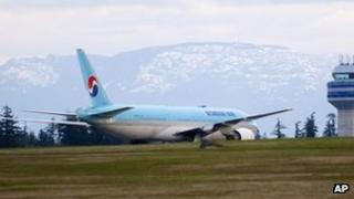 Korean Air Boeing 777 parked on the runway of a Canadian Forces base in Comox, British Columbia after an emergency landing on Tuesday April 10, 2012