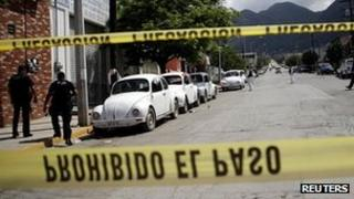 Scene of the killing of taxi drivers in the town of Guadalupe, Mexico, on 11 April 2012