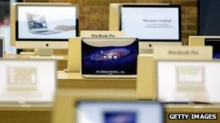 Macbooks in an Apple store
