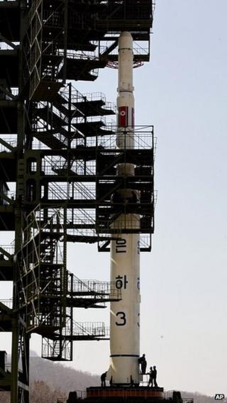 A Unha-3 rocket is pictured at Tongchang-ri launch site on 8 April 2012