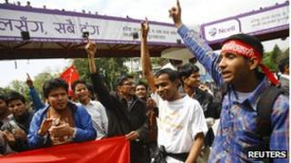 Members of the Mohan Baidya faction of the United Communist Party of Nepal protest against the handover of cantonments