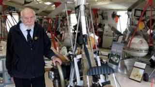 Wing Cdr Ken Wallis in his workshop at Reymerston Hall