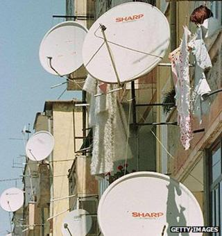Satellite dishes in Albania