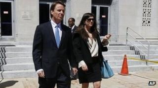 John Edwards outside the court at Greensboro, North Carolina, 12 April 2012