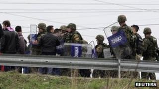 Riot police block one of the entrances to Skopje, April 13, 2012